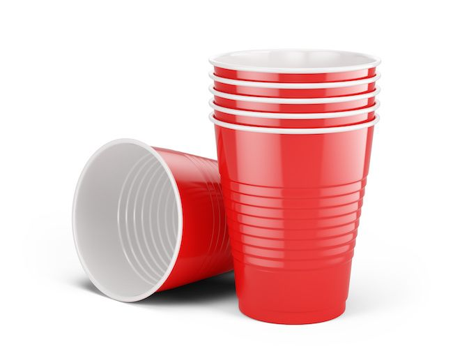 A stack of red solo cups