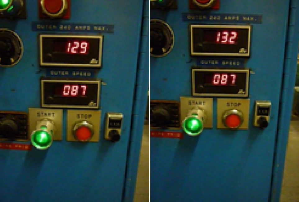 Two amp measurements on the same line 20 seconds apart.